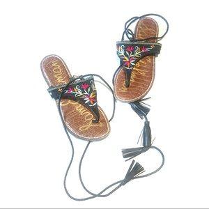 Sam Edelman Floral Embroidered Thong Sandal